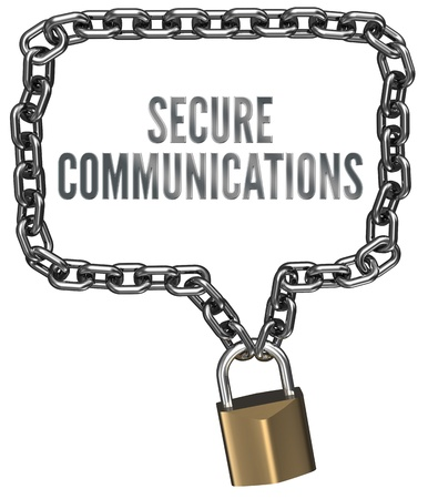 secure: Secure Communications chain lock  form speech bubble border, clipping path Stock Photo