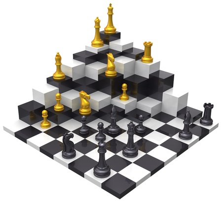 Domination of opponent to win 3D challenge chess game Stock fotó - 17338148