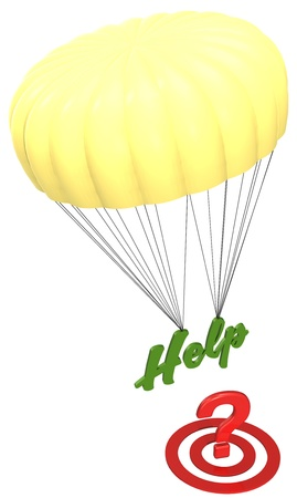 Parachute Help answer hits FAQ question mark target with Stock Photo - 17338147