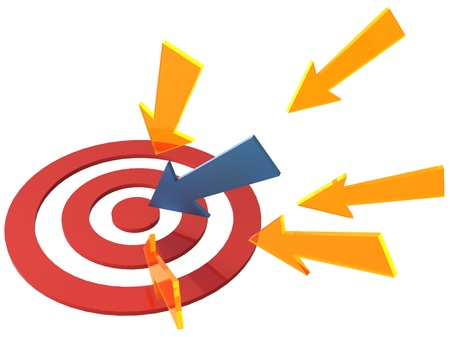 bull's eye: Targeted marketing arrows pointing at red target bulls eye Stock Photo