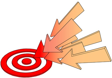 Line drawing arrow group pointing at a hot red target bulls eye
