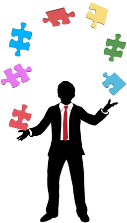 find solution: Business person juggles jigsaw puzzle pieces to find solution to his problems