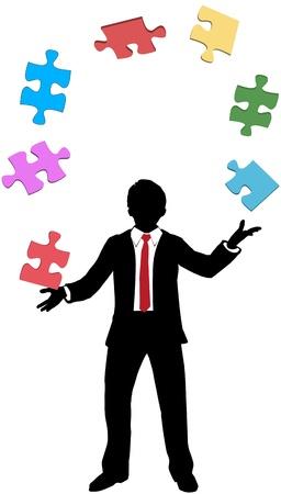 Ondernemer jongleert puzzelstukken te vinden oplossing voor zijn problemen Stock Illustratie