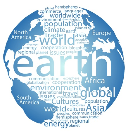 Earth wereldbol en heel de wereld word cloud-tags