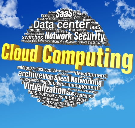 saas: Cloud computing IT technical word tags in blue sky words are on clipping path
