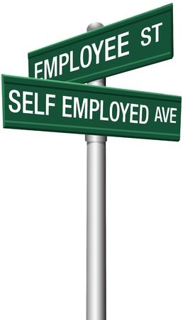 Self employed freelance or employee direction street signs 일러스트