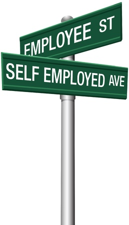 businessperson: Self employed freelance or employee direction street signs Illustration