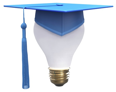 mortar board: Education degree is bright idea as light bulb and graduation cap with clipping-path Stock Photo
