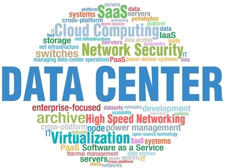 Data Center Computing IT technology keyword cloud tags Illustration
