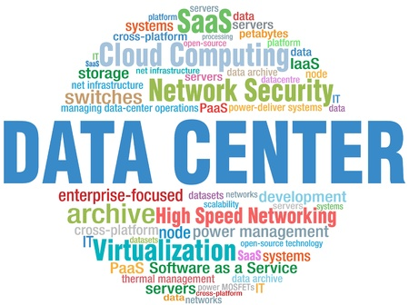 data center: Data Center Computing IT technology keyword cloud tags Illustration
