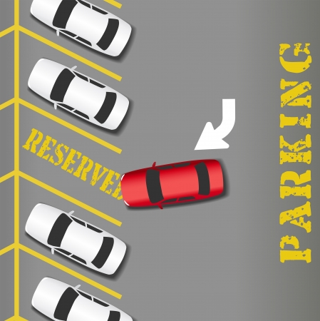 cars parking: RESERVED PARKING lot place for business success car Illustration