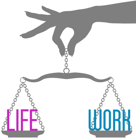 work life balance: Hand of woman holds scales to balance Life and Work in decision