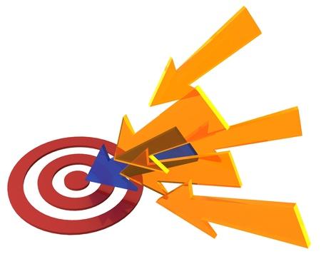 多くのマーケティングの矢印のいずれかを受賞赤ターゲットの雄牛の目でポイントします。