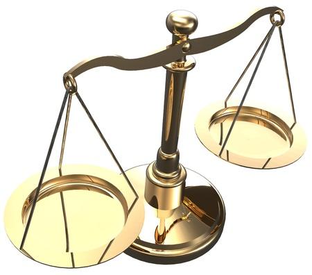 Scales als Symbol der Gesetz Gerechtigkeit Gericht Fairness Wahl 3D render mit Clipping-Pfad