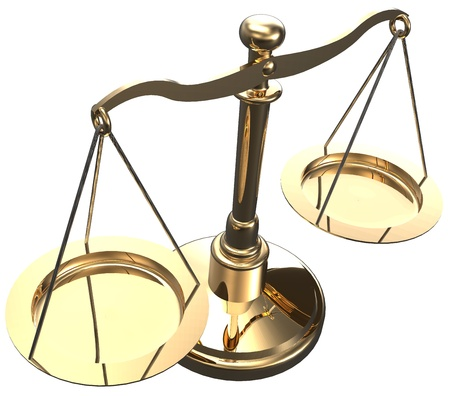fairness: Scales as symbol of law justice court fairness choice 3D render with clipping path Stock Photo
