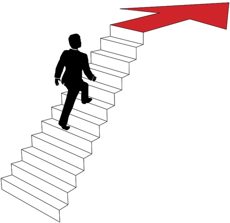 ambitions: Business man climbs up stairs to arrow direction to success