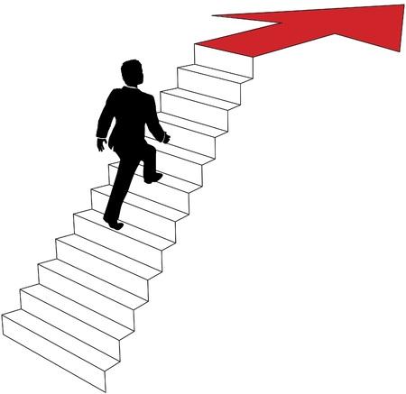 Zakelijke man klimt de trap op om richting van de pijl tot succes