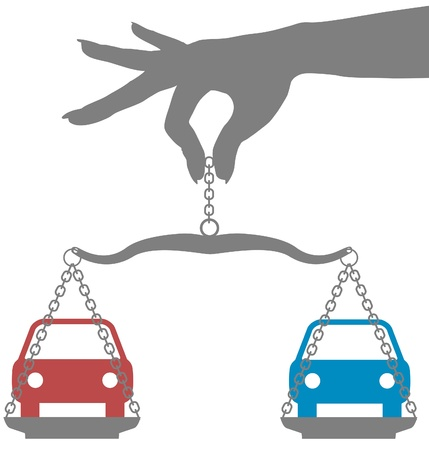 compare: Person weighs decision to buy car on scales Illustration