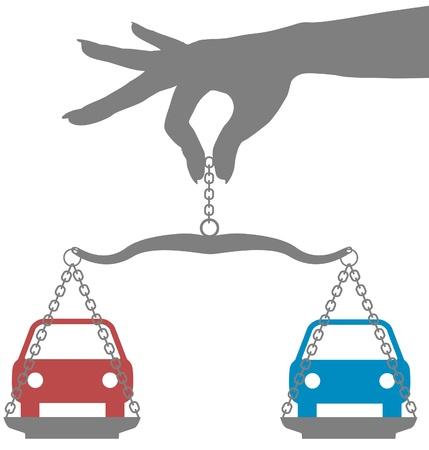 Persoon weegt beslissing om auto te kopen op schalen Stock Illustratie