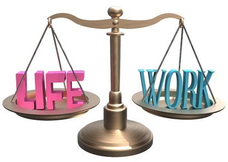 Glanzende schalen balans leven en werk beslissingen over lifestyle