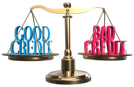 schuld: Kies waarde van een goede krediet of slecht krediet wegen op schaal Stockfoto