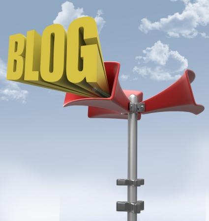 Loudspeaker makes big mega announcement of social media blog word Stock Photo - 18249690