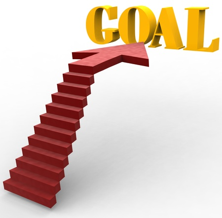 Red carpet stairs up to arrow direction to Goal Stock Photo - 18249689