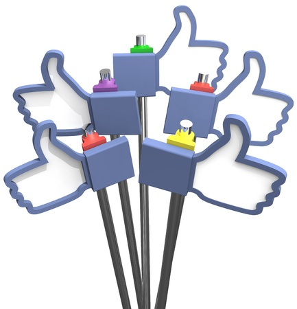 Group of social media thumbs-up like us icons as signs Stock Photo - 18249687