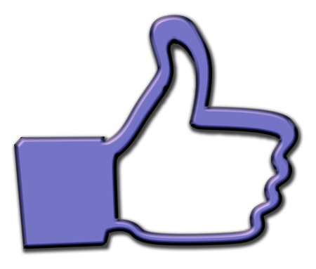 thumbsup: Social media thumbs-up like us icon with drop shadow and copy-space in border