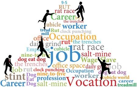 grind: Business employees climb job rat race work word cloud tags pyramid