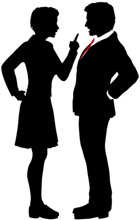 sexes: Business man and woman fight argue talk about disagreement
