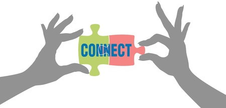 People hands connect pieces of jigsaw puzzle solution to form connection