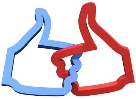 Twee grote duim omhoog bij ons voor social media 3D leuk