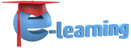 graduation cap on e-learning education school or online tutorial symbol photo
