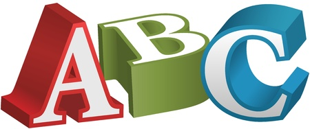 ABC alphabet letters as elementary red green blue 3D objects