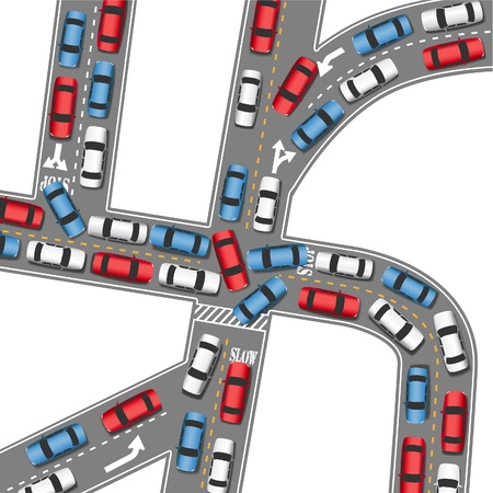 overhead: Cars in bumper to bumper traffic jam in busy drive time on busy roads