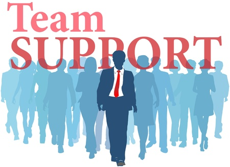 Business person backed up by Support Team people Иллюстрация
