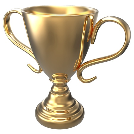 Championship gold trophy award 3D render with clipping-path