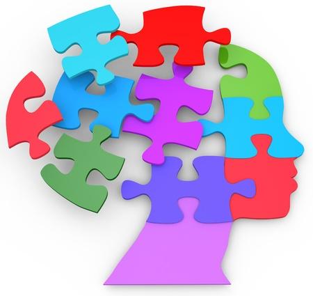 psicologia: Cabeza de una mujer como la mente pensó problema piezas de un rompecabezas Foto de archivo