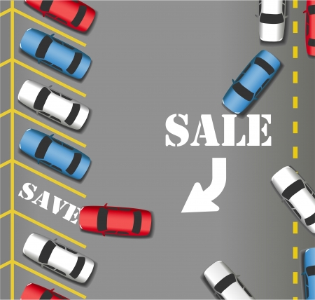 Customers cars rush in to busy Sale Parking at store lot to save money Stock Vector - 18985271