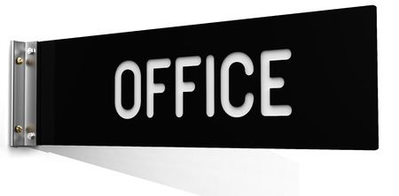 Business OFFICE sign above a door on a business corridor or hallway wall on a clipping-path