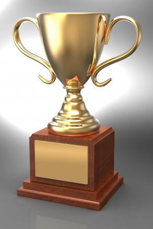 Bright shiny championship gold trophy award, wood base, plaque, with clipping-path