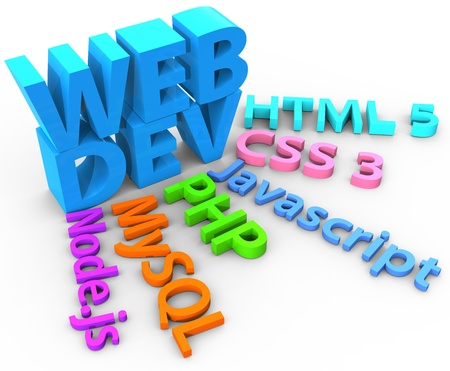 mysql: Tools web site development uses HTML CSS SQL PHP with clipping-path Stock Photo