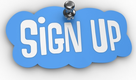 tack: Blue Sign Up label icon shape pinned by shiny tack to web page with clipping-path