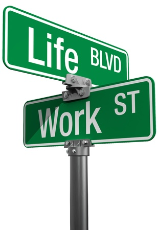 work life balance: Signs choose Work or Life Street isolated on clipping-path Stock Photo