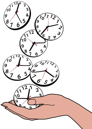 busy person: Persona ocupada ahorra horas de tiempo como relojes de caer en la mano