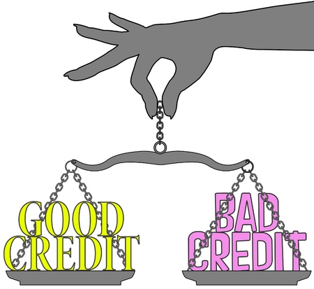 weighs: Person hand weighs Good Credit versus Bad Credit decision on scale