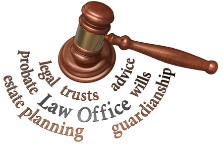 Gavel with legal concepts of estate planning probate wills attorney Archivio Fotografico