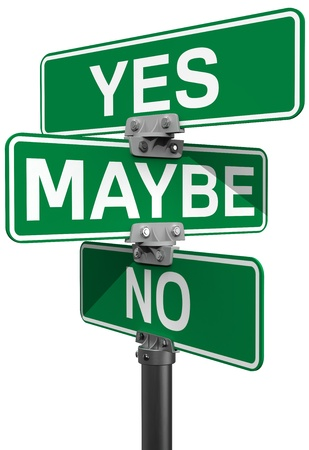 maybe: Street signs to make your choice between No Maybe or Yes decision
