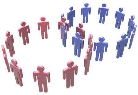 merge: People join as social network circles or business groups merge
